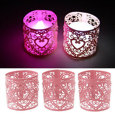 Pink  6 pcs Wedding Hollow Love Heart Candle Lampshade Decor Pink Lamp Shade AU
