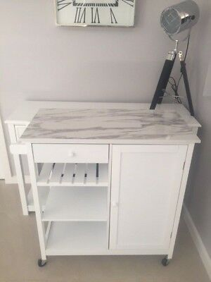 $800 Marble White Provincial Hamptons Bar Cart Kitchen Island Table NEW IN BOX