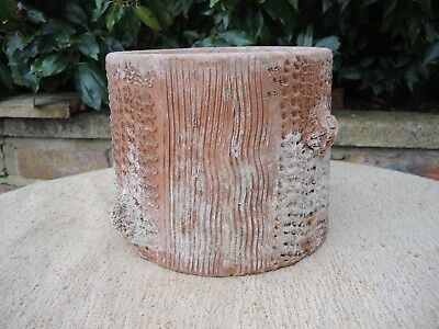 """Antique Terracotta Faux Bois Simulated Tree Trunk Planter 6.5"""" High   (1115)"""