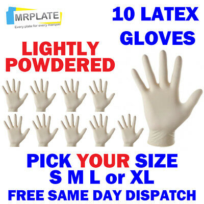 Latex Gloves - Pack of 10 - Lightly Powdered - Small Medium Large Extra S M L XL