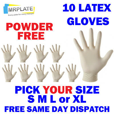Latex Gloves - Pack of 10 - Powder Free - Small Medium Large Extra S M L XL