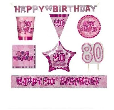 BLING Party Decorations And Tableware Sets For 80th Birthday Glitz