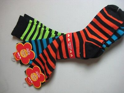 SIX Pairs Yes Coco Socks, NWT, Striped, Orange Blue Green Pink Red White, Size S