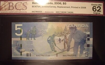 Canada 2008 BC-67bA $5 Replacement AAC7963315 - BCS ChUnc-62