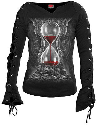 Spiral Direct SANDS OF DEATH Laceup Sleeve Black Top/Skull/Goth/Gothic/Party/Tee