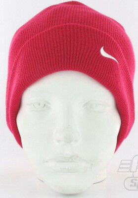 43fcdca4285 Nike Warm Winter Slouch Swoosh Beanie Knitted Wooly Hat Junior Girl Berry  Pink