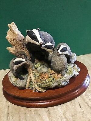 Badger Family Border Fine Arts Mounted Model Present Gift Collection certificate