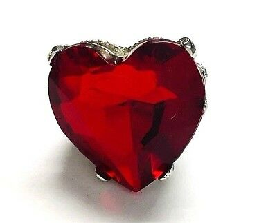 Vintage Faceted Red Acrylic Heart Silver Tone Chunky Statement Women's Ring Sz 6