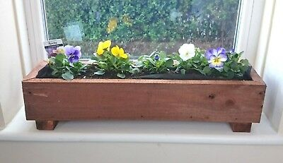Handmade  Indoor / Outdoor Rustic Wooden Planter Window Box Herb Garden Flowers.