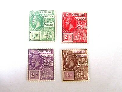 British Guiana, George V and Ship, 1913, #178, 179 (no gum), 193 & 180, M/OG/LHR