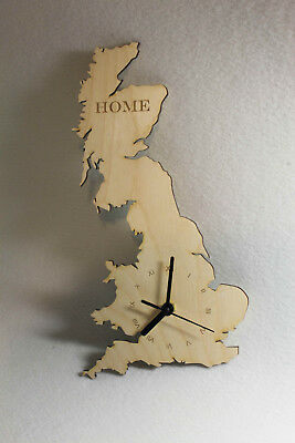 Unique bespoke Great Britain county shape clock wooden map country UK Handmade
