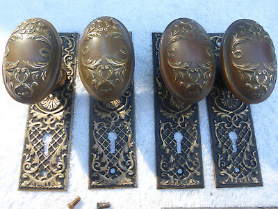 FOUR Antique Door Plates FOUR Oval Brass Knobs  SET 13- K