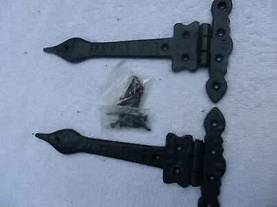 Two Rustic Vintage Antique Look Strap Hinges Black heavy duty