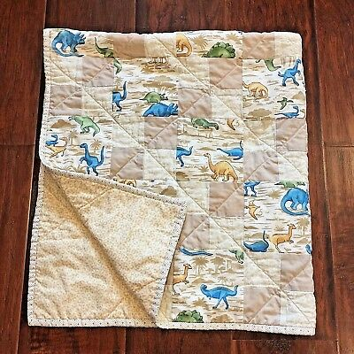 Handcrafted BABY BOY TODDLER QUILT CRIB  BLANKET PATCHWORK DINOSAURS