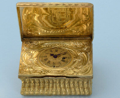 Gilt Metal Box Fitted with a Watch