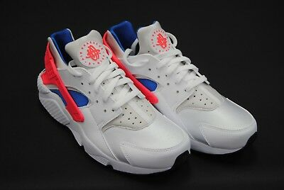 [318429 112] New Men's Nike Air Huarache White Ultramarine Solar Red Le996