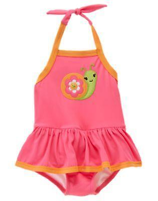 NWT Gymboree 3T Growing Flowers SNAIL Coral Pink One Piece Swimsuit UPF 50+