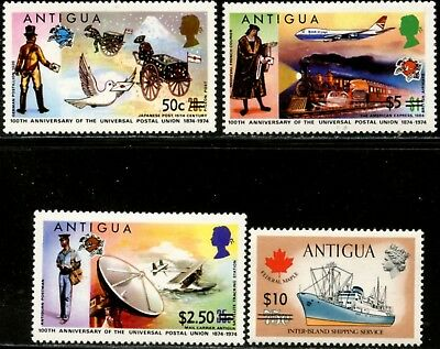 ANTIGUA Sc#365-368 1974-75 Re-valued Stamps Complete Set Mint LH