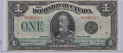Kappyscoins Id9952  Large  1923 $1.00 Dominion Of Canada Bank Note