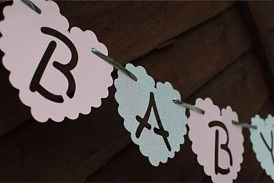 PERSONALISED girl Baby Shower Banner decoration bunting pink ROSE GOLD heart boy