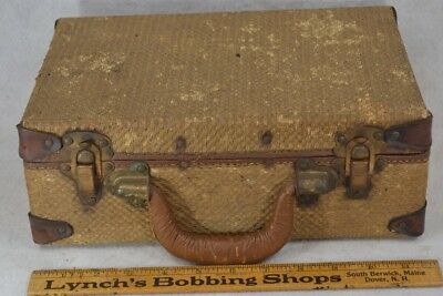 suitcase luggage wicker leather overnight small Victorian  antique original vg