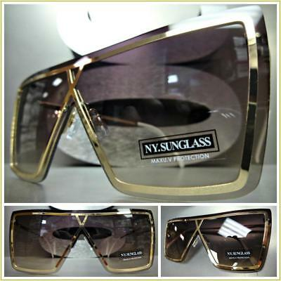 d8bd127632e2 OVERSIZE EXAGGERATED VINTAGE RETRO SHIELD Style SUNGLASSES Large Rose Gold  Frame