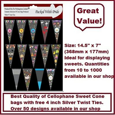 """Large Unique Cellophane Sweet Cone Party Bags - 40 Designs With 4"""" Twist Ties"""