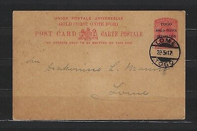 1917 Togo postcard from Anglo-French Occupation (Lome, 5/22/17)--nice strikes