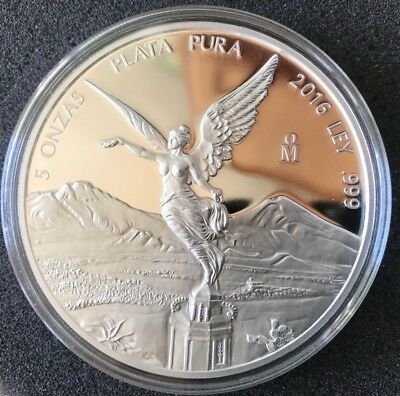 PROOF LIBERTAD - MEXICO - 2016 5 oz Proof Silver Coin in Capsule