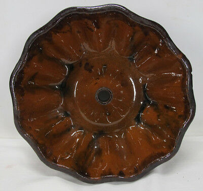 Antique 19th c Folk Art Redware Manganese Glaze Turks Head Bundt Food Mold 1 yqz