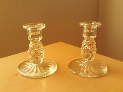 """Vintage Pair of Cut Glass Art Deco Candlestick Holders. Roughly 4 3/4"""" High"""