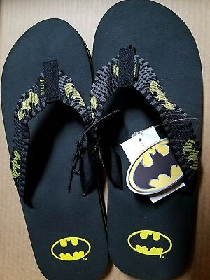 5139a8866c59 Mens DC Comics Batman Black   Yellow Fabric Flip Flops Size Med Large