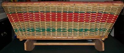 VINTAGE HAND CRAFTED WICKER DOLL / BEAR ROCKING CRADLE BED 62cm long