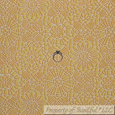 BonEful FABRIC FQ Cotton Quilt Yellow White VTG French Country Lace Flower Print
