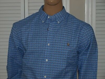 POLO RALPH LAUREN Authentic L/S Oxford Stretch Slim Fit Shirt Blue NWT