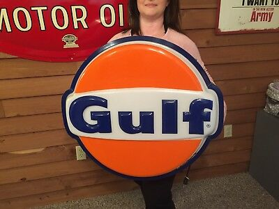 Vintage Rare GULF OIL GAS SIGN LIGHTED  Original!! WORKS with Extra Bulbs!!.