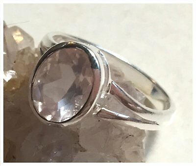 925 Sterling Silver ROSE QUARTZ Semi Precious GEMSTONE RING SIZE N1/2 - US 7