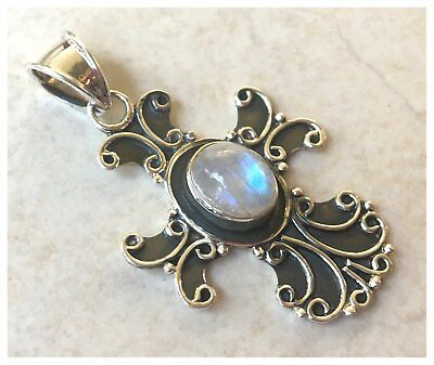 925 Sterling Silver RAINBOW MOONSTONE Semi Precious Gemstone Pendant SD735-I