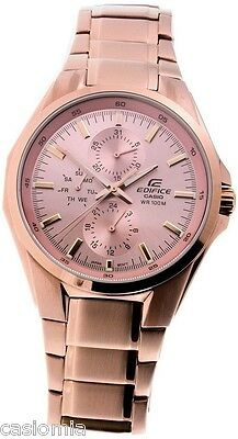 Casio Edifice EF339G-9A Mens Rose Gold Color Stainless Steel Multi-Dial Watch