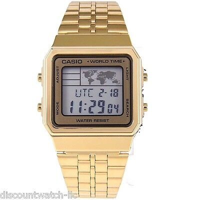Casio A500WGA-9 World Time Digital Stainless Steel Watch WORLD MAP Gold