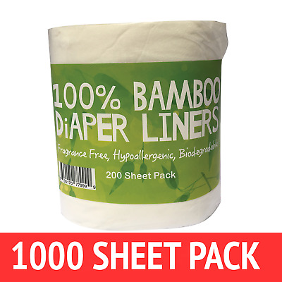 1000 x BAMBOO Flushable Liners Nappy Insert Cloth Biodegradable NATURAL Liners