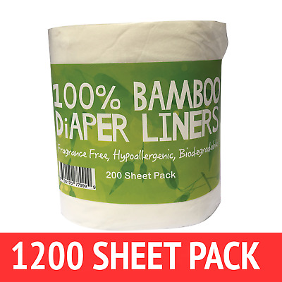 1200 x BAMBOO Flushable Liners Nappy Insert Cloth Biodegradable NATURAL Liners