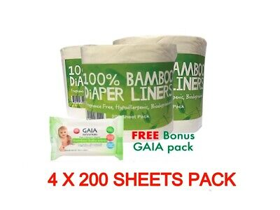 600 X BAMBOO Flushable Liners Nappy Insert Cloth Biodegradable / Gaia Wipes 20