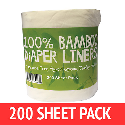 200 X BAMBOO Flushable Liners Nappy Insert Cloth Biodegradable NATURAL Liners