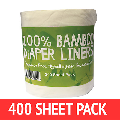 400 X BAMBOO Flushable Liners Nappy Insert Cloth Biodegradable NATURAL Liners