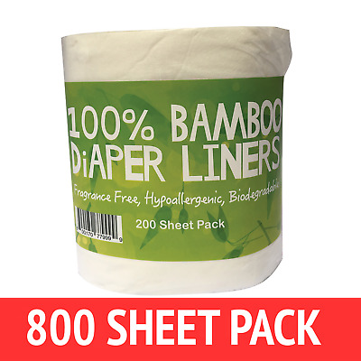800 X BAMBOO Flushable Liners Nappy Insert Cloth Biodegradable NATURAL Liners