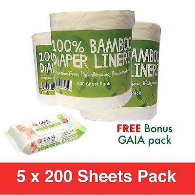1000 x BAMBOO Flushable Liners Nappy Insert Cloth Biodegradable w/Gaia Wipes 80