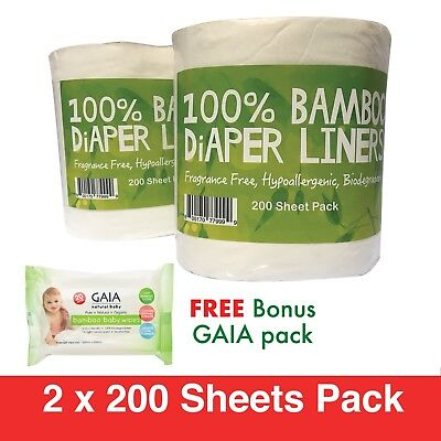 400 X BAMBOO Flushable Liners Nappy Insert Cloth Biodegradable w/Gaia Wipes 20