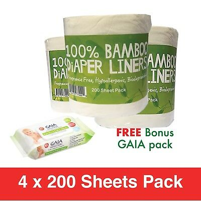 800 X BAMBOO Flushable Liners Nappy Insert Cloth Biodegradable w/ Gaia Wipes 80