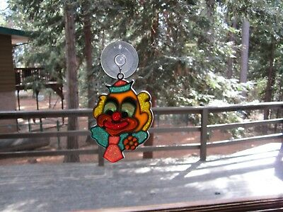 Beautiful Clown Stained Glass Style Sun Catcher With Suction Cup